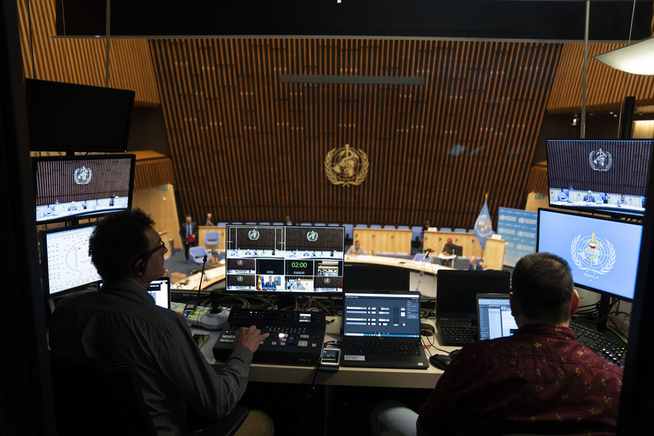 Seventy-third World Health Assembly, Geneva, Switzerland, 18-19 May 2020.  The World Health Assembly will reconvene later in the year.  A view of the audio-visual operations booth during the closing session of the 73rd World Health Assembly — 19 May 2020