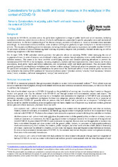 Considerations for public health and social measures in the workplace in the context of COVID-19