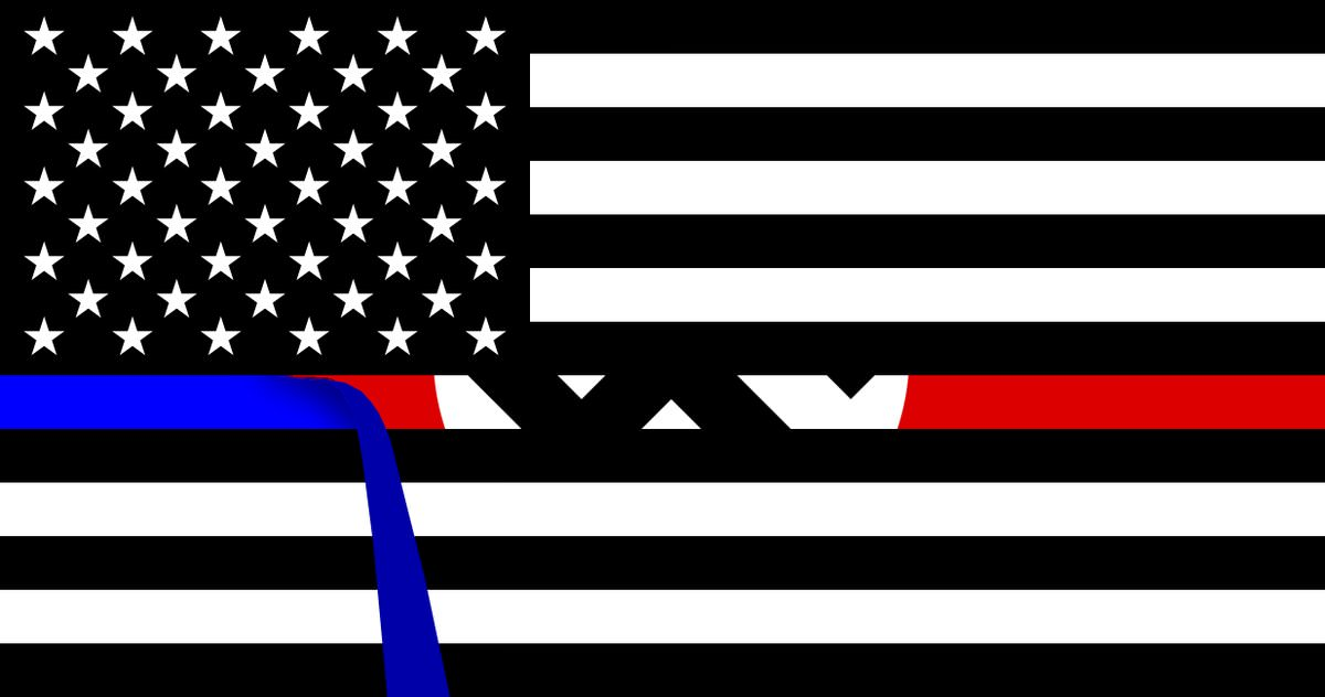 """Image of a """"Blue Lives Matter"""" flag with the thin blue line being peeled away to reveal a Nazi swastika underneath."""