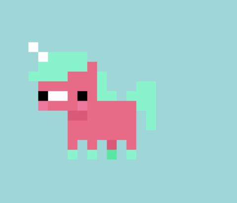 réalistation d 'une licorne en pixel pour les jeux vidéo