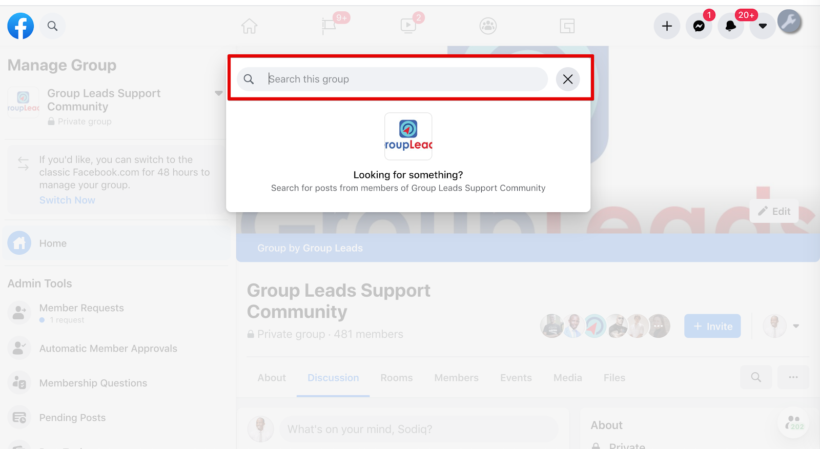 Search Facebook Group Posts