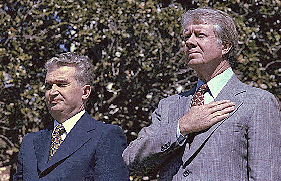 Nicolae Ceausescu and Jimmy Carter