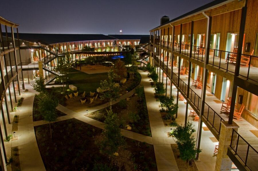 Hotel courtyard exterior lighting