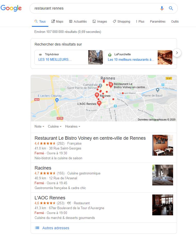Serp restaurant Agence SEO Rennes