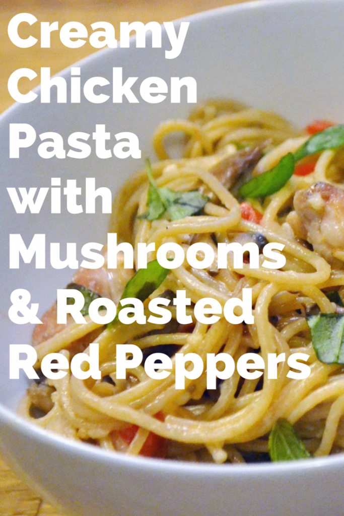Creamy chicken pasta with mushrooms and roasted red peppers is an easy weeknight dinner recipe that the whole family (including any picky toddlers) will love!