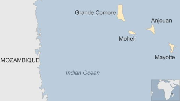Map of the Comores islands