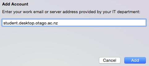 Screenshot of text box showing server address student.desktop.otago.ac.nz