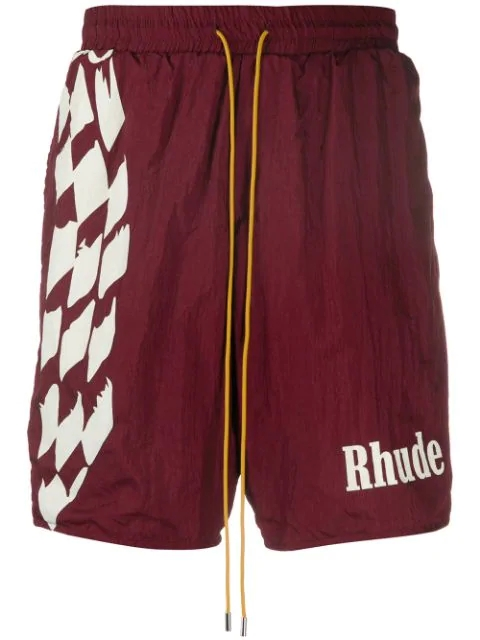 Rhude crinkled effect logo print track shorts