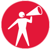Red Circle with white stick figure shouting in to a bull horn
