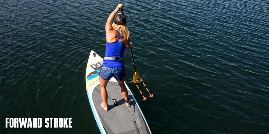 a paddle boarder illustrating the forward stroke on her sup