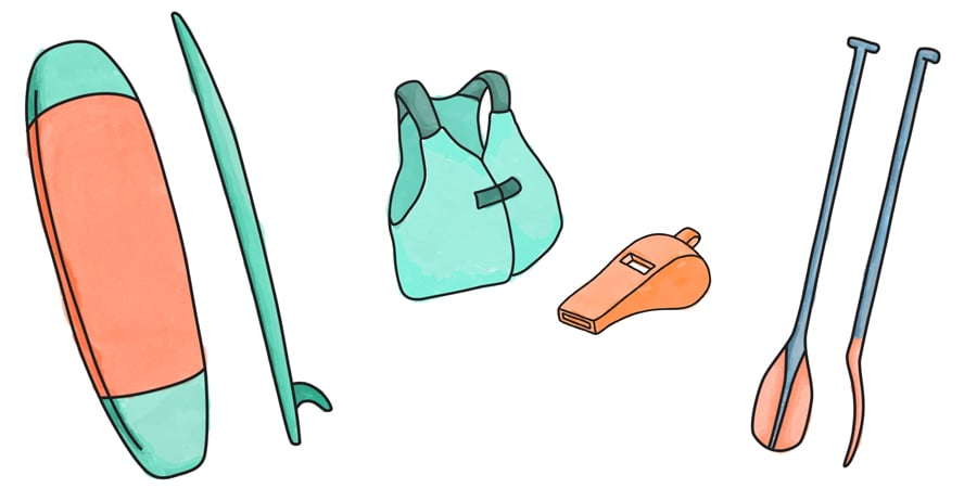stand up paddle board (sup) gear illustrations