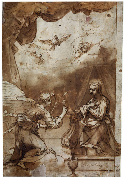 5-42 Alonso Cano, Annunciation, 1645. Pen and wash, 26 x 17.6 cm. Museo del Prado, Madrid.