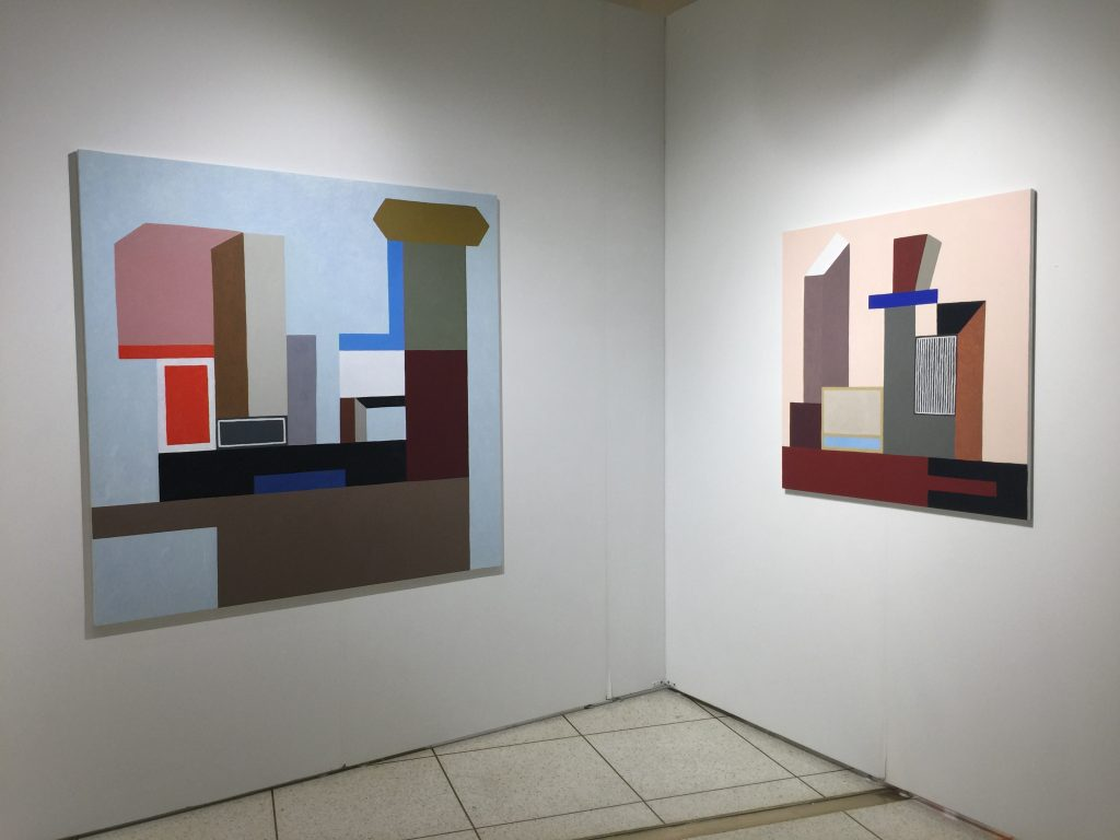 """Left: Nathalie Du Pasquier, """"Mat 1,"""" 2016, oil on canvas, 150x150cmm at Apalazzo Gallery, Brescia, Italy Right: Nathalie Du Pasquier, """"Mat 2,"""" 2016, oil on canvas 150x150cm at Apalazzo Gallery, Brescia, Italy"""