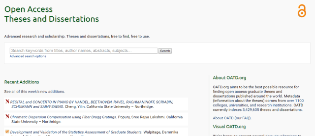 OATD - Open Access Theses and Dissertations