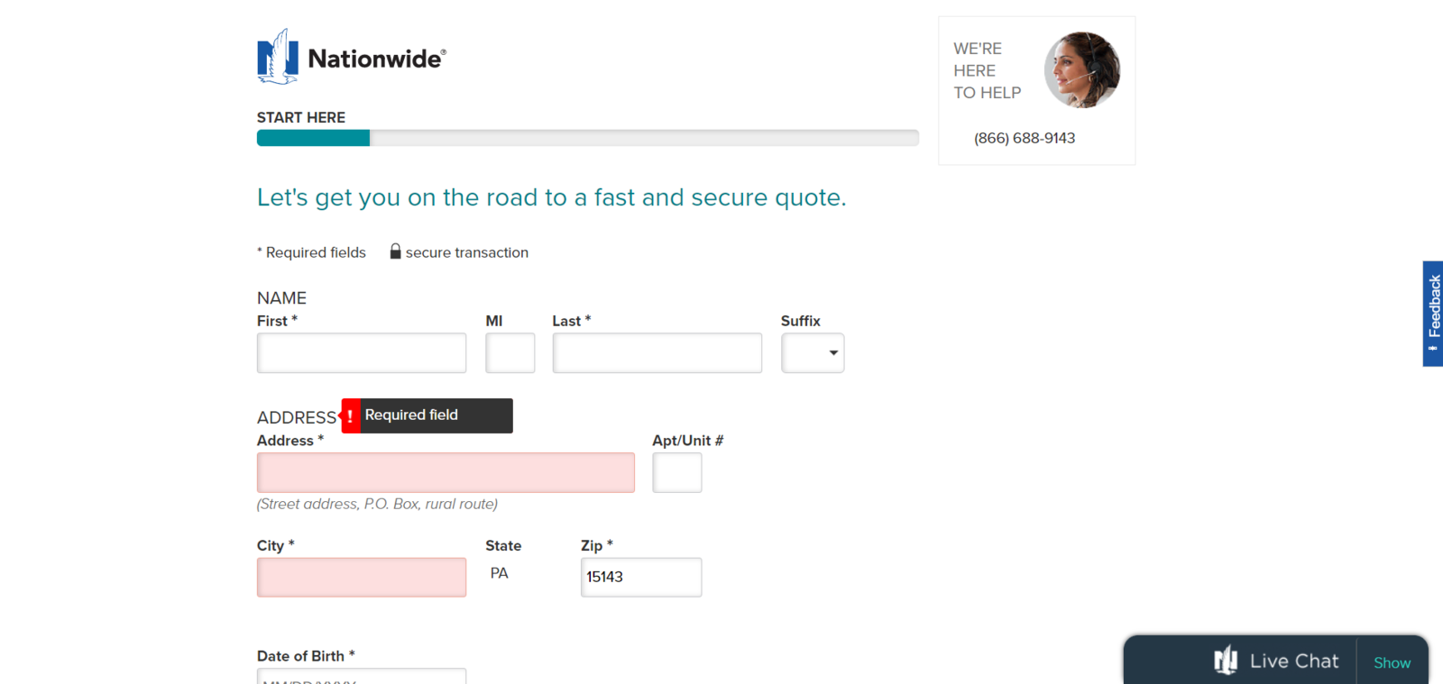 Nationwide website online quote personal information screen