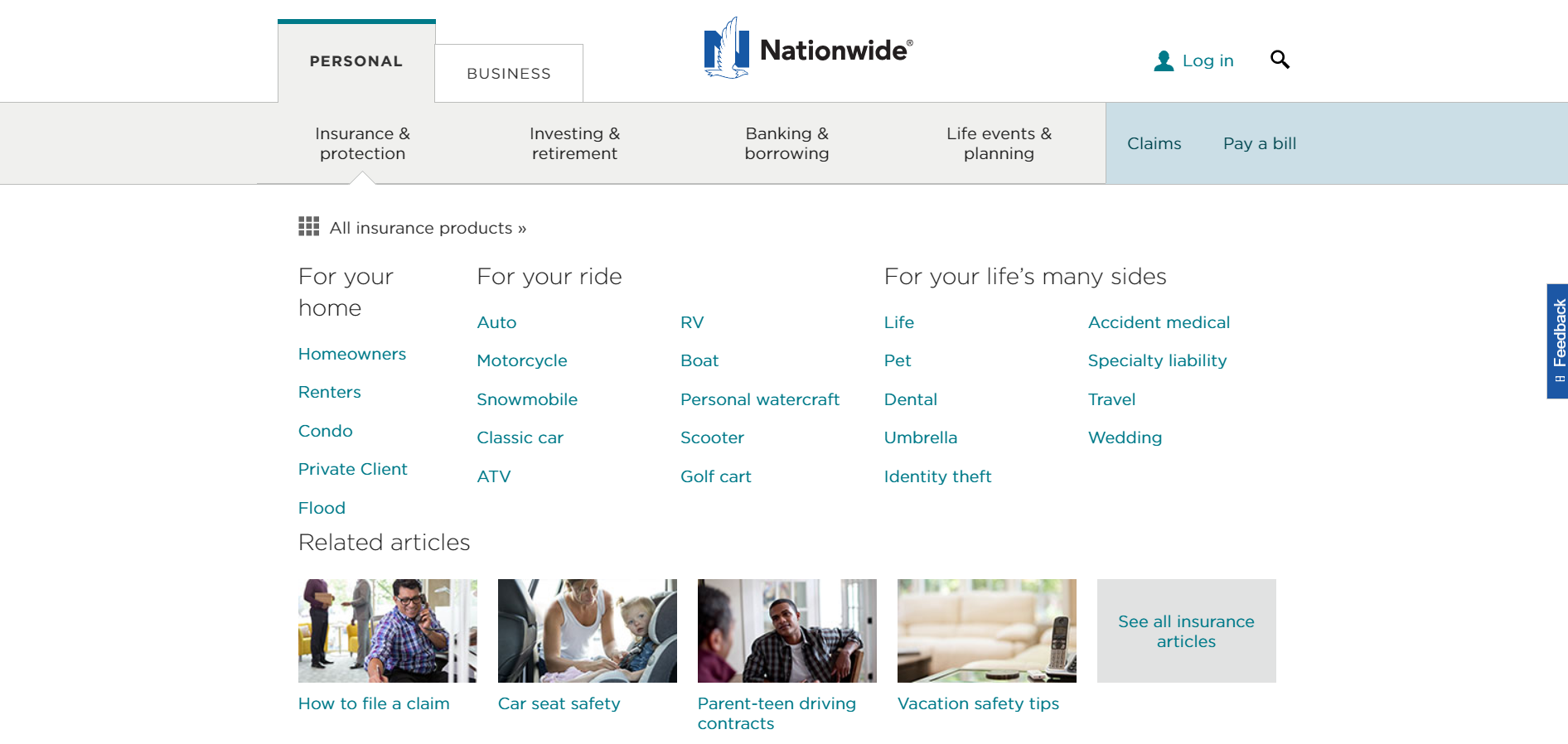 Nationwide mobile app home page