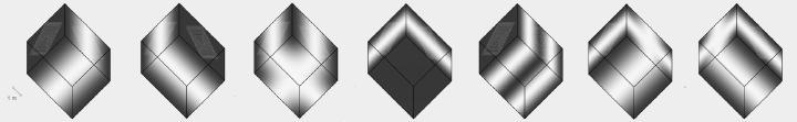Raumeigenmoden eines Beispielraums bei folgenden Frequenzen: 31,2 Hz, 37,3 Hz, 48,6 Hz, 61,2 Hz, 62,4 Hz, 68,7 Hz und 71,7 Hz