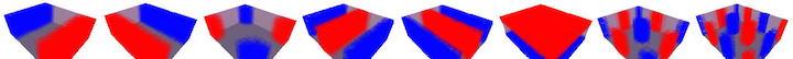 Decke, Boden, Wände – alle spielen mit: Raummoden eines Beispielraums bei 31,8 Hz, 38,1 Hz, 49,3 Hz, 64,4 Hz, 76,8 Hz, 85,9 Hz, 98,1 Hz und 121,,3 Hz