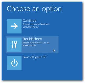 Windows Choose an Option