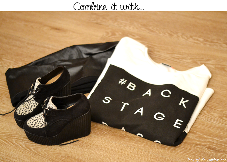 outfit, how to wear, style it, sweater, wedge creepers, leather legging, little mix style, jade thirlwall style